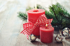 Two red candles Royalty Free Stock Photos