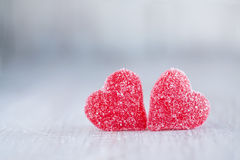 Two Red Candy Valentines Day Hearts Stock Images