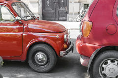 Two red car parked Royalty Free Stock Photo