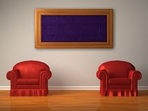 Two red chairs with frame Royalty Free Stock Image