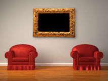 Two red chairs with modern frame Royalty Free Stock Image