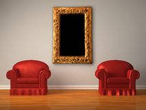 Two red chairs with modern frame Stock Photo