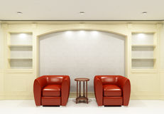Two red chairs with table in empty library Royalty Free Stock Images
