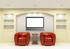 Two red chairs with table with LCD tv stock illustration