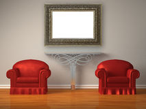 Two Red Chairs With Metallic Console And Frame Royalty Free Stock Images