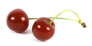 Two red cherries stock photo