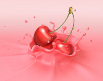Two red cherries falling into milkshake splashing. Royalty Free Stock Images