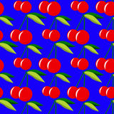 Two red cherries with leaves on blue background seamless pattern Stock Photos