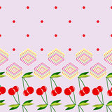 Two red cherries with leaves and geometric elements pattern. Two red cherries with leaves and geometric elements on a violet background pattern Stock Photos