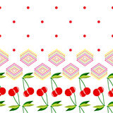 Two red cherries with leaves and geometric elements pattern. Two red cherries with leaves and geometric elements on a white background pattern Stock Image