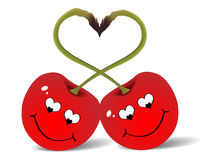 Two red cherry's Stock Image