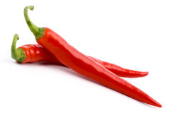 Two red chilly peppers Royalty Free Stock Photos