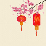 Two red Chinese lanterns on a branch of cherry blossoms with purple flowers. illustration Royalty Free Stock Image