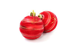 Two red Christmas ball Stock Images