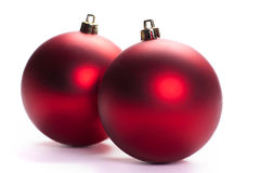 Two red christmas ball, isolated Stock Photos