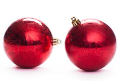 Two red christmas ball, isolated Royalty Free Stock Photo