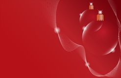 Two red Christmas ball on a red background Stock Photos