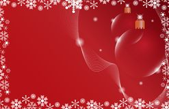 Two red Christmas ball on a red background Royalty Free Stock Images