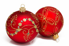 Two red christmas ball on a white Stock Photo