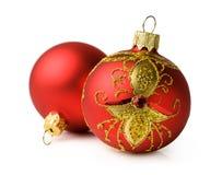 Two red Christmas ball Stock Photography