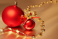 Two red christmas balls Royalty Free Stock Photography