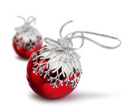 Two red Christmas balls isolated Stock Image