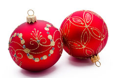 Two red christmas balls isolated Stock Images