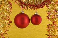 Two red Christmas Baubles stock photo