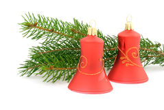 Two red christmas bells Royalty Free Stock Photos