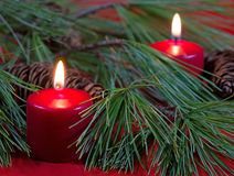 Two Red Christmas Candles Royalty Free Stock Image