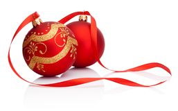 Two red Christmas decoration bauble with ribbon on whit. Two red Christmas decoration bauble with ribbon on a white background royalty free stock photos