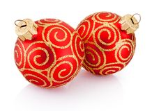 Two Red Christmas decoration baubles isolated on white background. Red Christmas decoration bauble with ribbon bow isolated on a white background stock photo