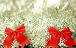 Two red christmas decoration ribbons Royalty Free Stock Image