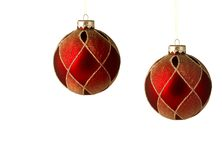 Two red christmas ornaments isolated. With space for writing Stock Images