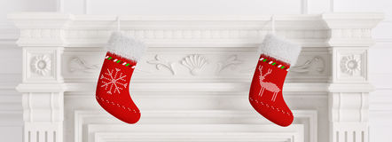 Two red christmas stockings 3d rendering. Two red christmas stockings hanging on carved marble stone fireplace 3d rendering Stock Image