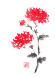 Two red chrysanthemums Japanese style original sumi-e ink painting. Royalty Free Stock Photography