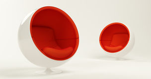 Two Red Cocoon Ball Chairs Isolated On White Stock Image