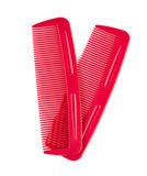 Two red combs for hair on white. Two red combs for hair isolated on white Stock Images