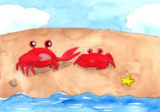 Two red crabs on the sand beach. With sea and blue sky Stock Image