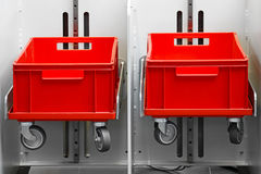Two red crates Royalty Free Stock Images