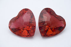 Two Red Crystal Hearts Stock Photo