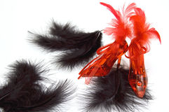 Two Red Crystal Slippers With Feathers Royalty Free Stock Images