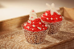 Two red cupcakes Stock Photo