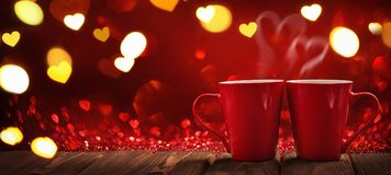 Two Red Cups of Coffee with Hearts Stock Images