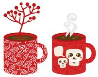 Two red cups. Vector illustration of hot Christmas Royalty Free Stock Photo