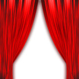 Two red curtains isolated on white Royalty Free Stock Images