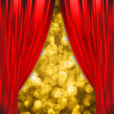 Two red curtains opening the show Stock Photography