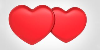 Two red 3D heart shapes on white gray background valentine's day couple love. 2 Stock Image