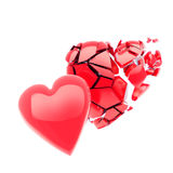 Two red 3d hearts, isolated on white. Flying parts of red 3d heart isolated on white background royalty free illustration