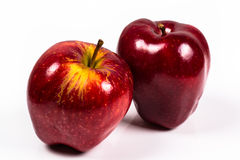 Two red delicious apple on a white background. One solid red and the other yellow red Royalty Free Stock Photo